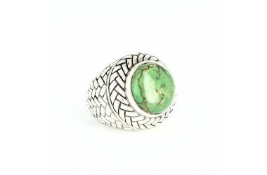 Bague argent & turquoise mohave verte