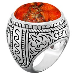 Bague argent & turquoise mohave orange